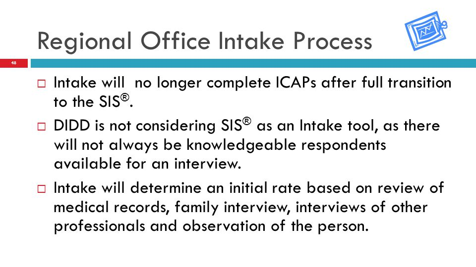  Intake will no longer complete ICAPs after full transition to the SIS ®.