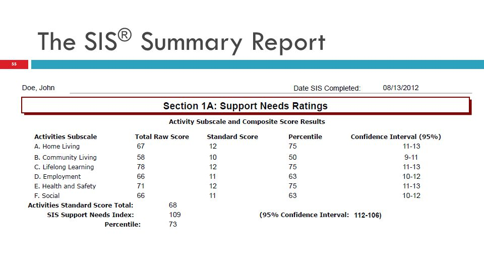 The SIS ® Summary Report 55