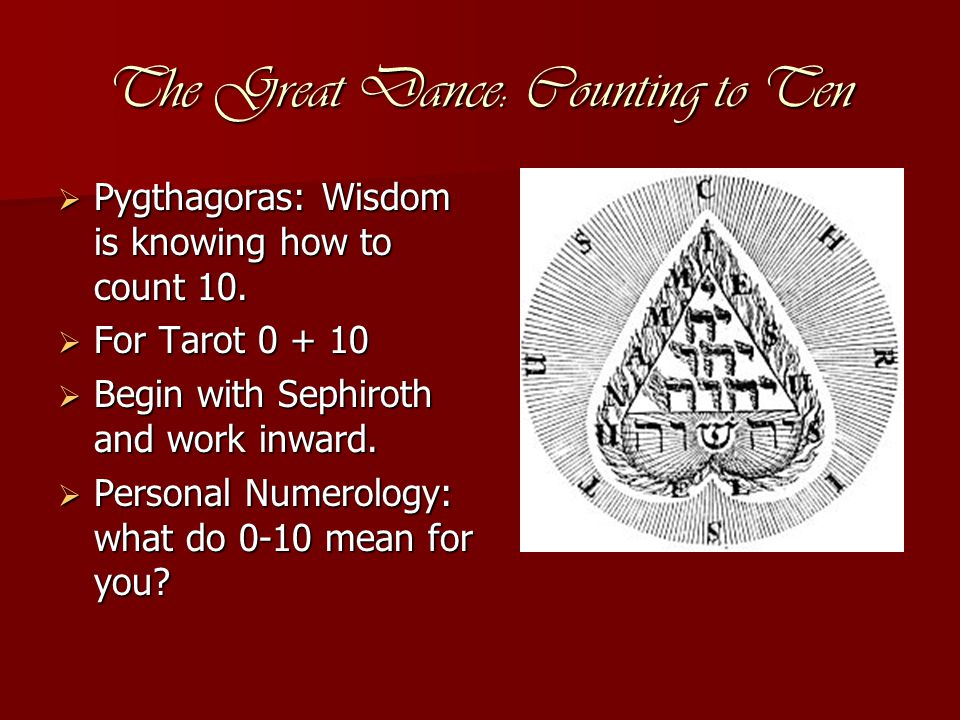 The Great Dance: Counting to Ten  Pygthagoras: Wisdom is knowing how to count 10.