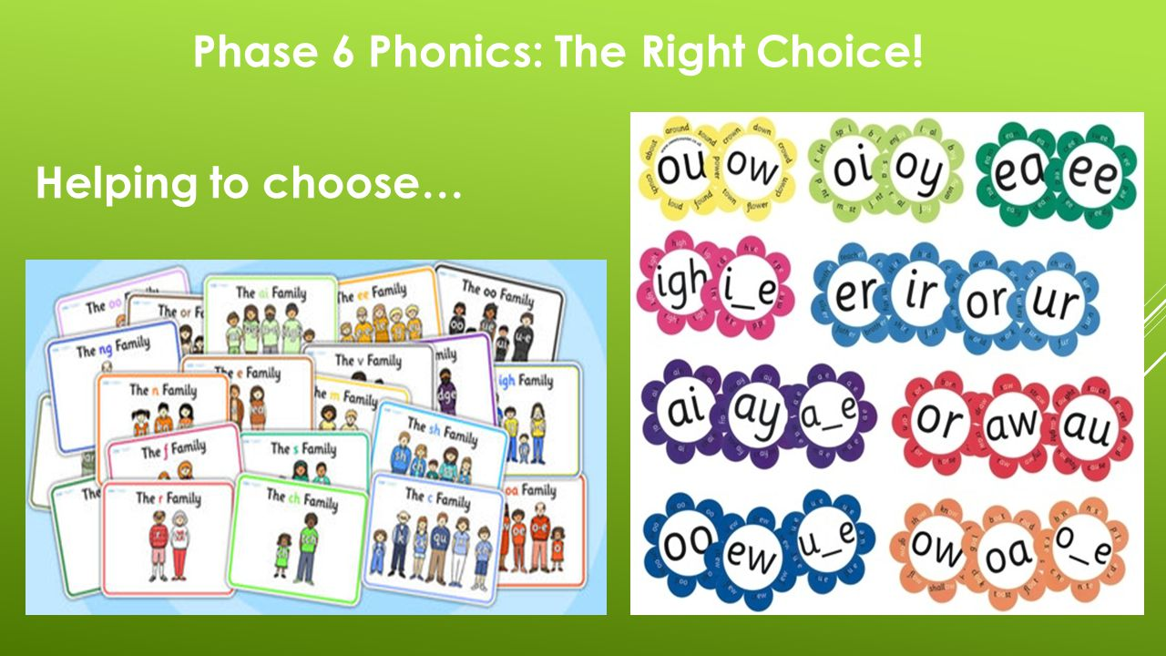 Phase 6 Phonics: The Right Choice! Helping to choose…