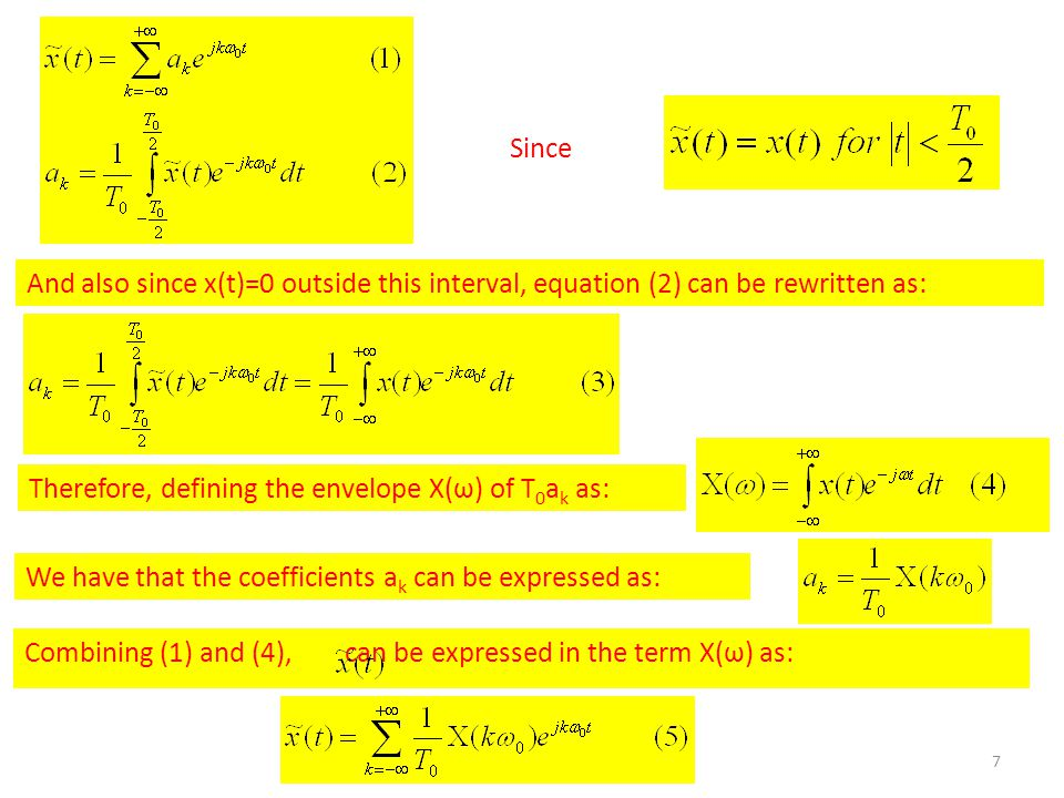7 Since And also since x(t)=0 outside this interval, equation (2) can be rewritten as: Therefore, defining the envelope X(ω) of T 0 a k as: We have that the coefficients a k can be expressed as: Combining (1) and (4), can be expressed in the term X(ω) as: