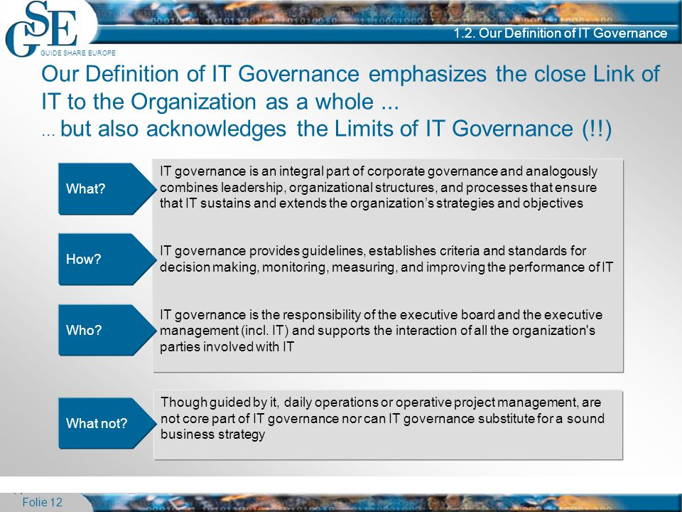 GUIDE SHARE EUROPE Folie 12 1.2. Our Definition of IT Governance Our Definition of IT Governance emphasizes the close Link of IT to the Organization a