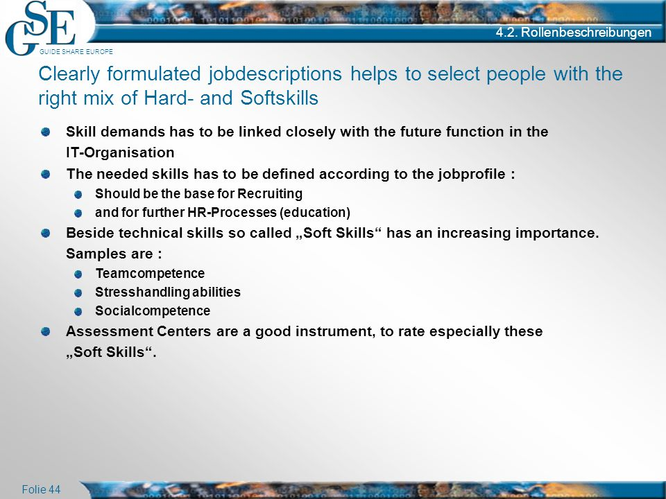GUIDE SHARE EUROPE Folie 44 4.2. Rollenbeschreibungen Skill demands has to be linked closely with the future function in the IT-Organisation The neede