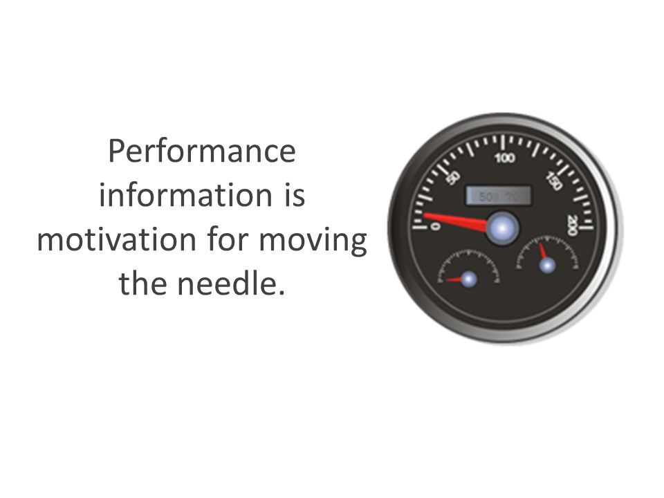 Performance information is motivation for moving the needle.
