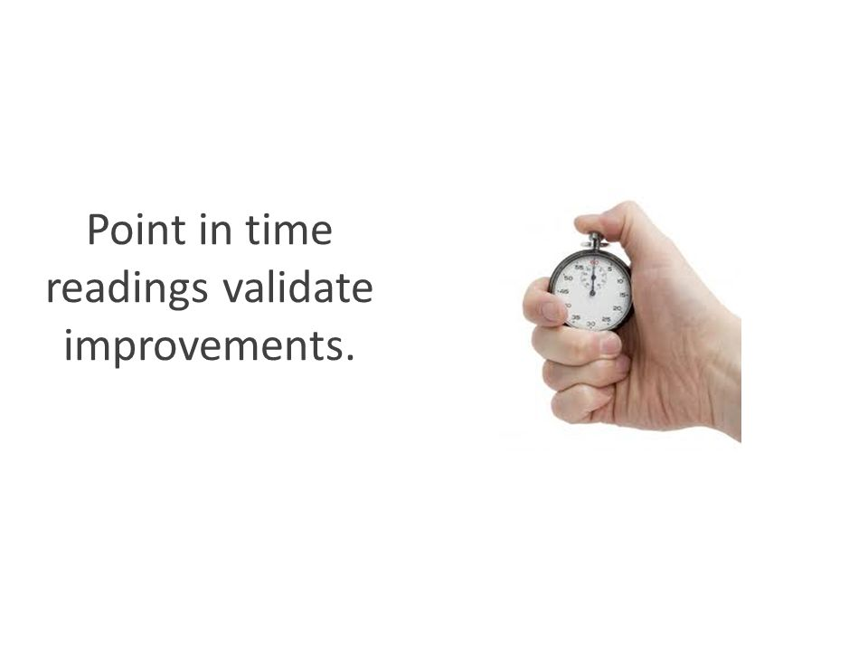 Point in time readings validate improvements.