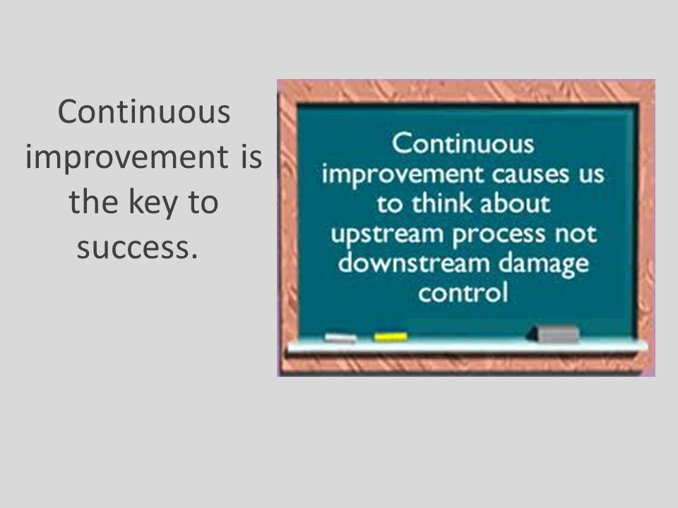 Continuous improvement is the key to success.