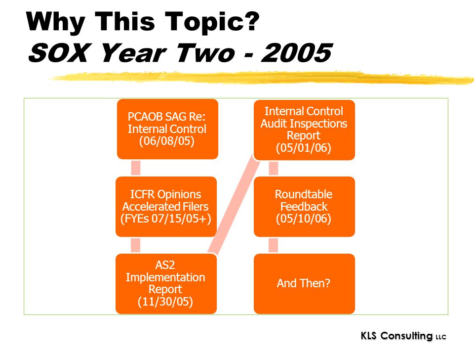 KLS Consulting LLC Why This Topic? SOX Year Two - 2005