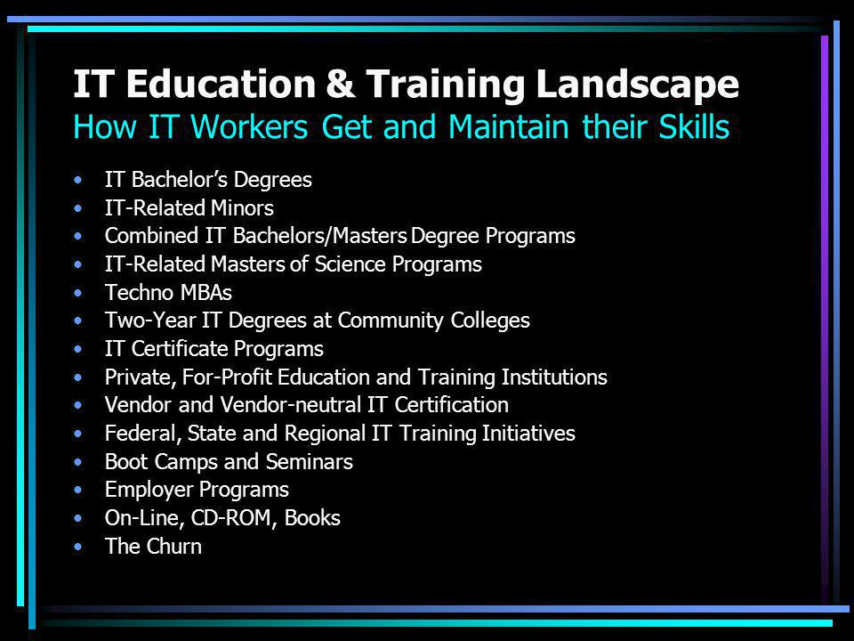 IT Education & Training Landscape How IT Workers Get and Maintain their Skills IT Bachelor's Degrees IT-Related Minors Combined IT Bachelors/Masters Degree Programs IT-Related Masters of Science Programs Techno MBAs Two-Year IT Degrees at Community Colleges IT Certificate Programs Private, For-Profit Education and Training Institutions Vendor and Vendor-neutral IT Certification Federal, State and Regional IT Training Initiatives Boot Camps and Seminars Employer Programs On-Line, CD-ROM, Books The Churn