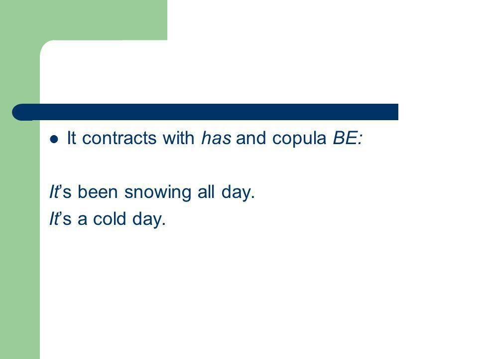 It contracts with has and copula BE: It's been snowing all day. It's a cold day.