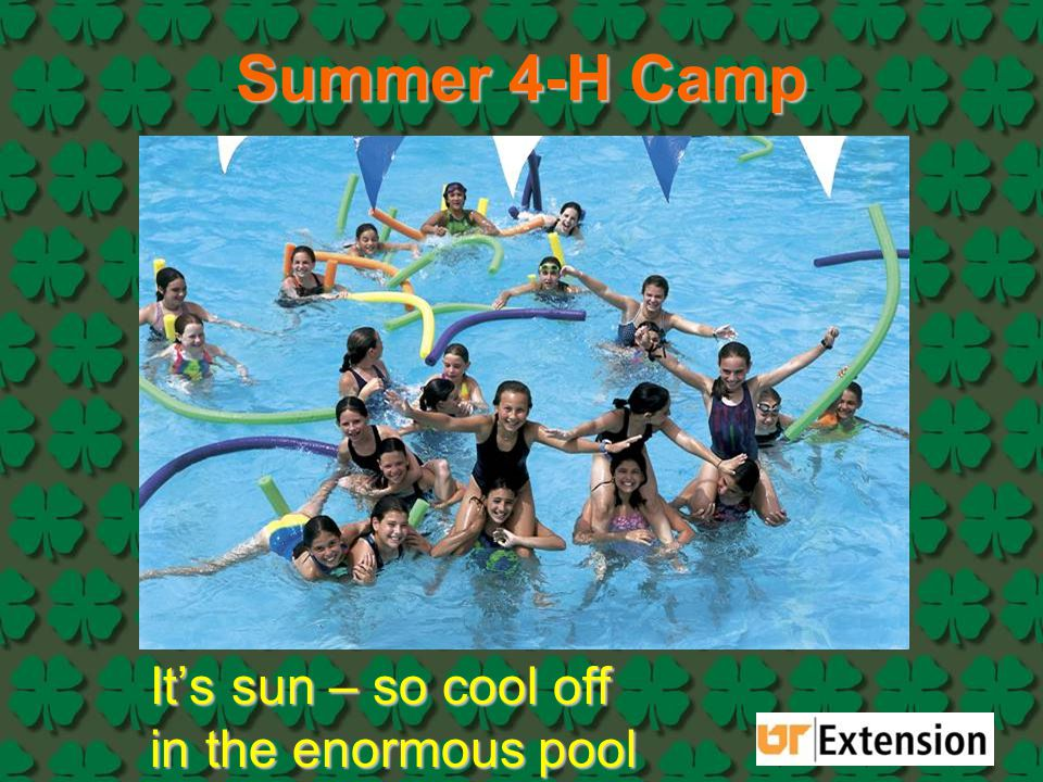 Summer 4-H Camp It's sun – so cool off in the enormous pool