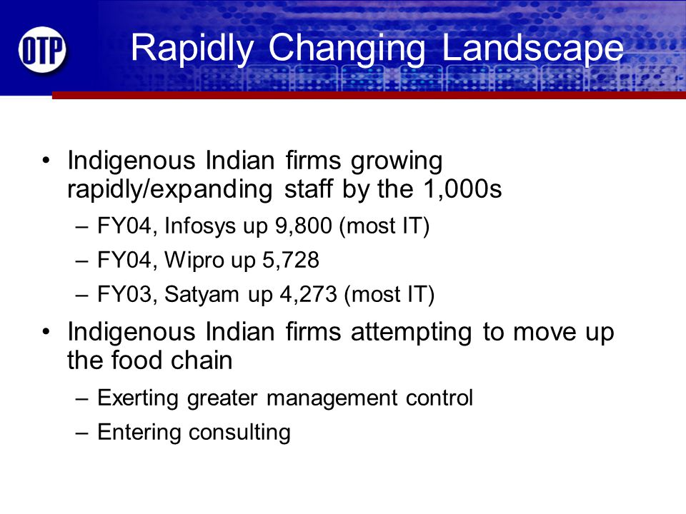 Rapidly Changing Landscape Indigenous Indian firms growing rapidly/expanding staff by the 1,000s –FY04, Infosys up 9,800 (most IT) –FY04, Wipro up 5,728 –FY03, Satyam up 4,273 (most IT) Indigenous Indian firms attempting to move up the food chain –Exerting greater management control –Entering consulting