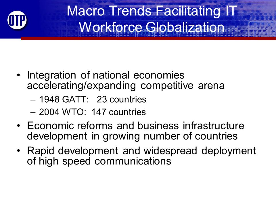 Macro Trends Facilitating IT Workforce Globalization China, India, Russia, Eastern Europe joining free market system –3 billion people; half the world's labor market –Large/growing pool of skilled/education workers –Work for wages far below workers in U.S.
