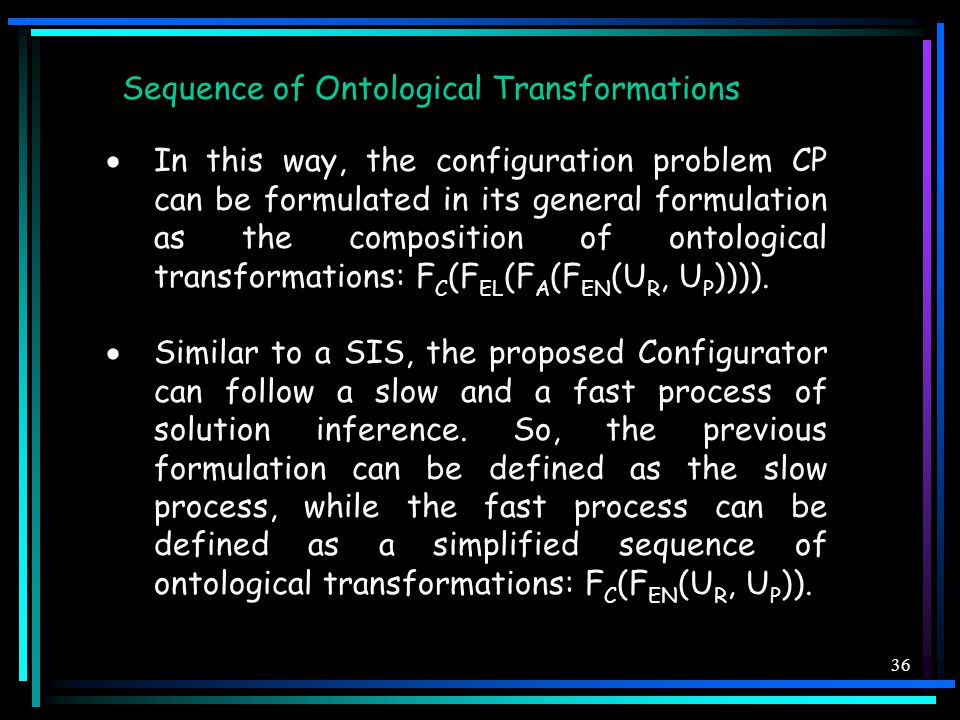 36 Sequence of Ontological Transformations  In this way, the configuration problem CP can be formulated in its general formulation as the composition of ontological transformations: F C (F EL (F A (F EN (U R, U P )))).