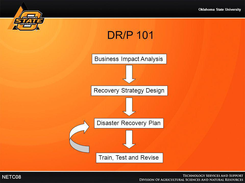 Oklahoma State University NETC08 Business Impact Analysis Recovery Strategy Design Disaster Recovery Plan Train, Test and Revise DR/P 101