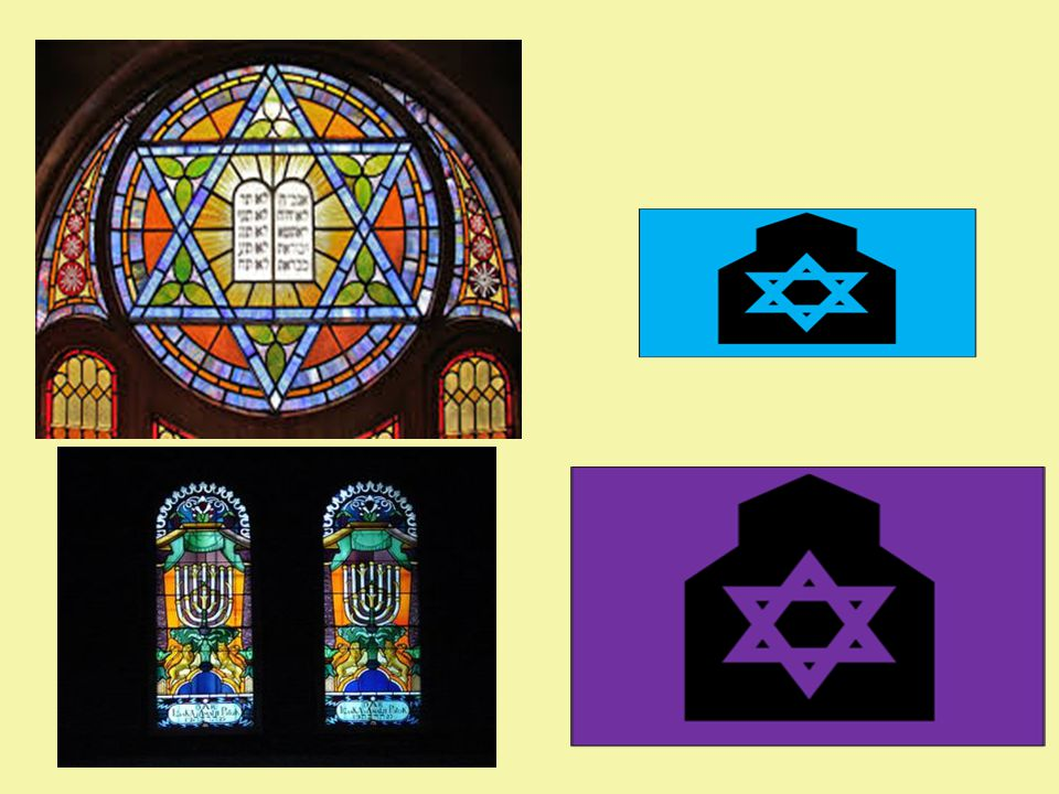 Stained Glass Windows Stained glass windows honour God by making the synagogue look beautiful. They will often contain images of Jewish symbols, plant