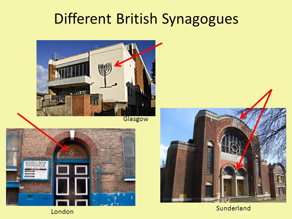 Different British Synagogues Glasgow London Sunderland