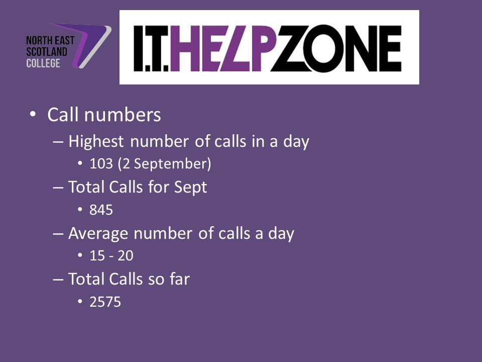 Call numbers – Highest number of calls in a day 103 (2 September) – Total Calls for Sept 845 – Average number of calls a day 15 - 20 – Total Calls so far 2575