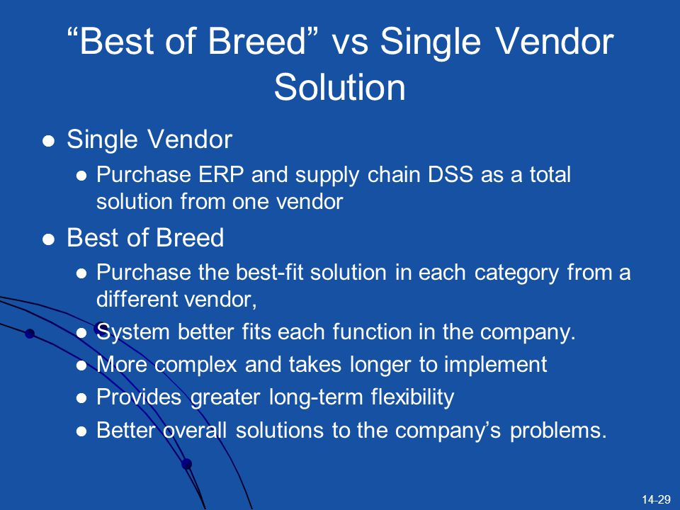 14-29 Best of Breed vs Single Vendor Solution Single Vendor Purchase ERP and supply chain DSS as a total solution from one vendor Best of Breed Purchase the best-fit solution in each category from a different vendor, System better fits each function in the company.