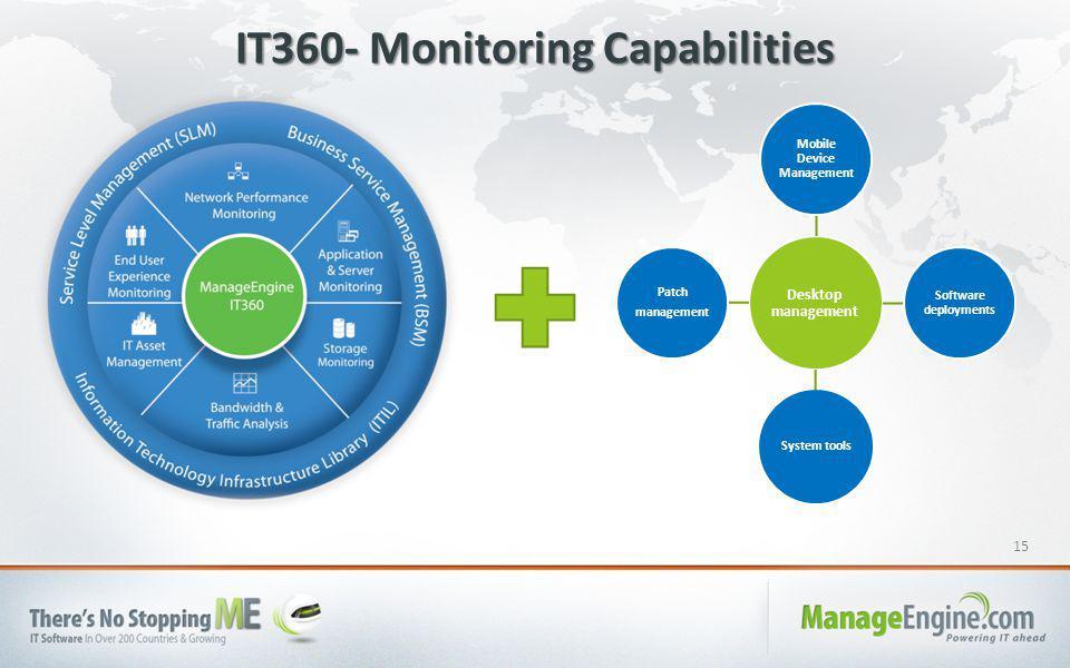 15 IT360- Monitoring Capabilities Desktop management Mobile Device Management Software deployments System tools Patch management