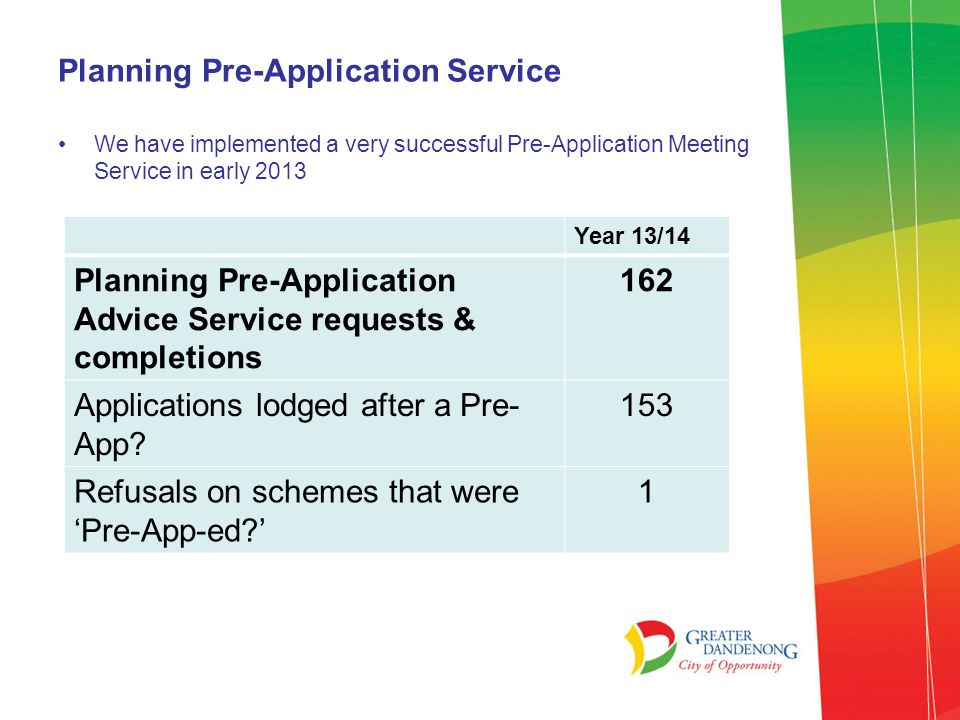 What doesn't the pre-application advice service do.