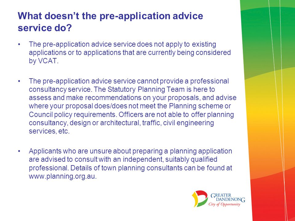 What does the pre-application advice service do.