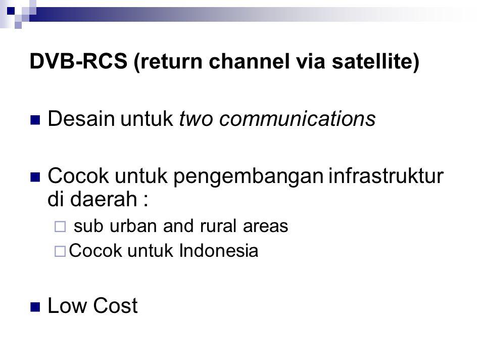 DVB-RCS (return channel via satellite) Desain untuk two communications Cocok untuk pengembangan infrastruktur di daerah :  sub urban and rural areas  Cocok untuk Indonesia Low Cost