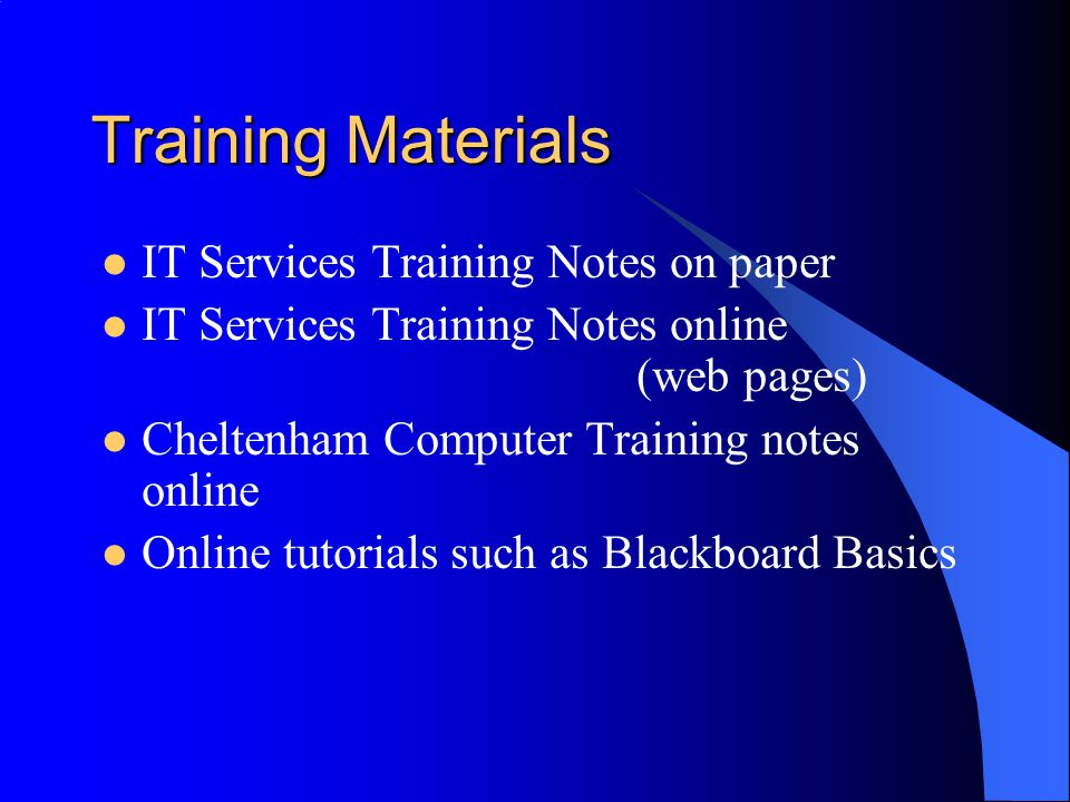 Training Sessions Timetabled Taught Classes Drop In And Learn Classes through CSTD (Centre for Staff Training and Development)