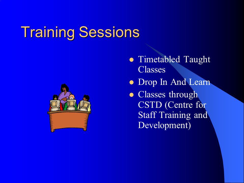 Training Topics Microsoft Office  Word  Excel  PowerPoint  Access Other Applications  Outlook Express  Internet Explorer  FrontPage  Windows  Draw  Paint