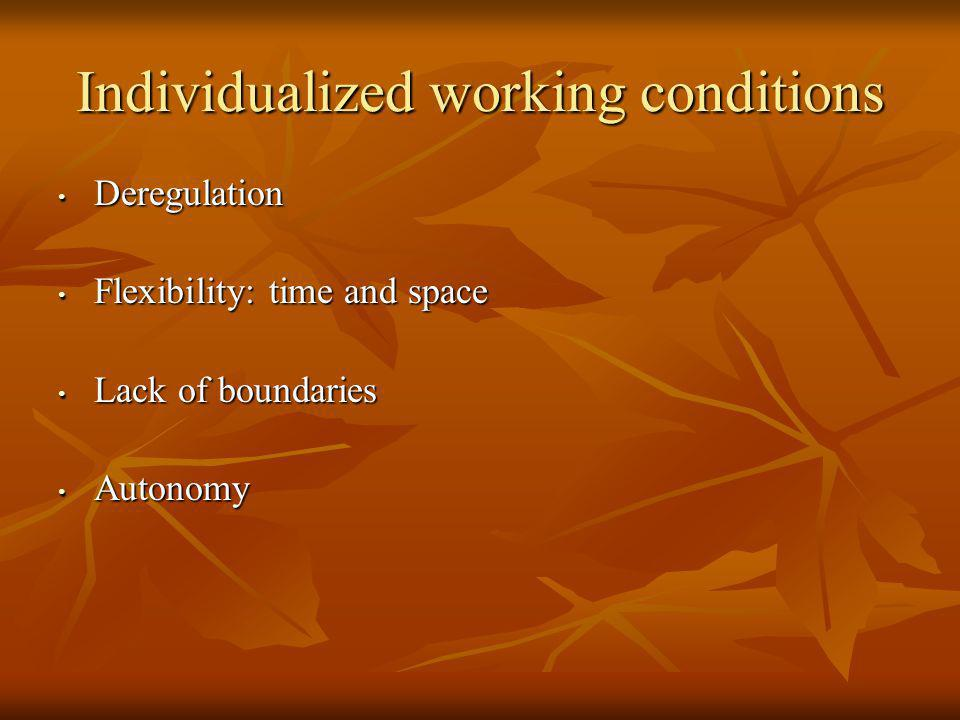 Individualized working conditions Deregulation Deregulation Flexibility: time and space Flexibility: time and space Lack of boundaries Lack of boundaries Autonomy Autonomy