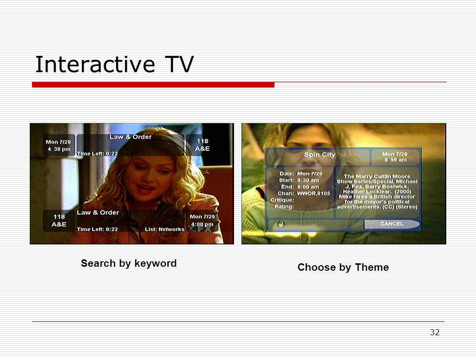 32 Interactive TV Search by keyword Choose by Theme