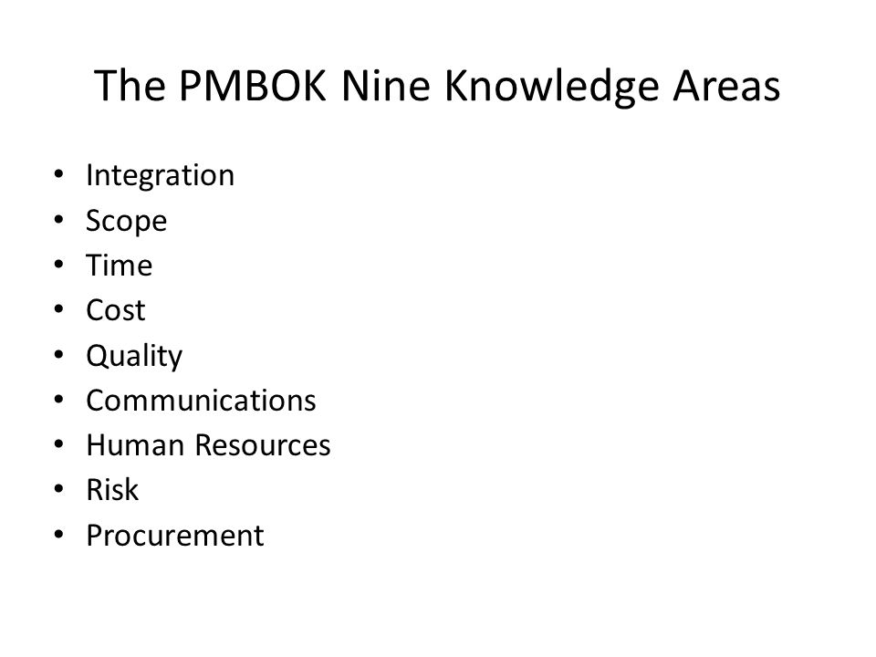 The PMBOK Nine Knowledge Areas Integration Scope Time Cost Quality Communications Human Resources Risk Procurement
