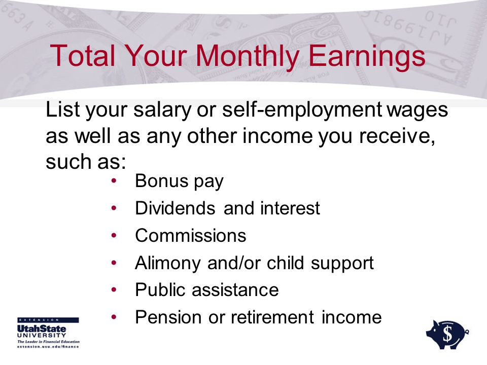 Total Your Monthly Earnings Bonus pay Dividends and interest Commissions Alimony and/or child support Public assistance Pension or retirement income List your salary or self-employment wages as well as any other income you receive, such as:
