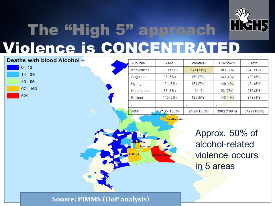 SuburbsZeroPositiveUnknownTotal Khayelitsha313 (15%)527 (21%)303 (8%)1143 (13%) Gugulethu97 (5%)169 (7%)143 (4%)409 (5%) Nyanga121 (6%)161 (7%)149 (4%)431 (5%) Kraaifontein73 (3%)124 (5)92 (2%)289 (3%) Philippi110 (5%)125 (5%)143 (4%)378 (4%).....