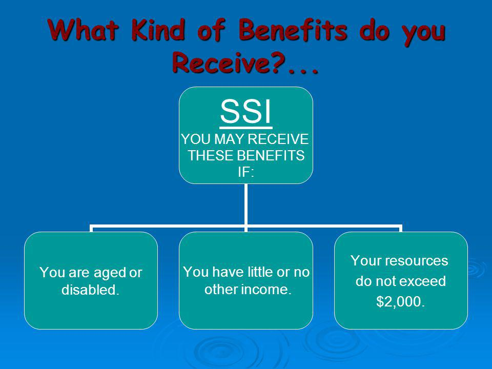 SSDI Work Incentives Continued…  Expedited Reinstatement of Benefits –If your cash payments ended because of your work and earnings, and you must stop working at SGA level within 5 years of the month your benefits were terminated, SSA may be able to start your payments again.
