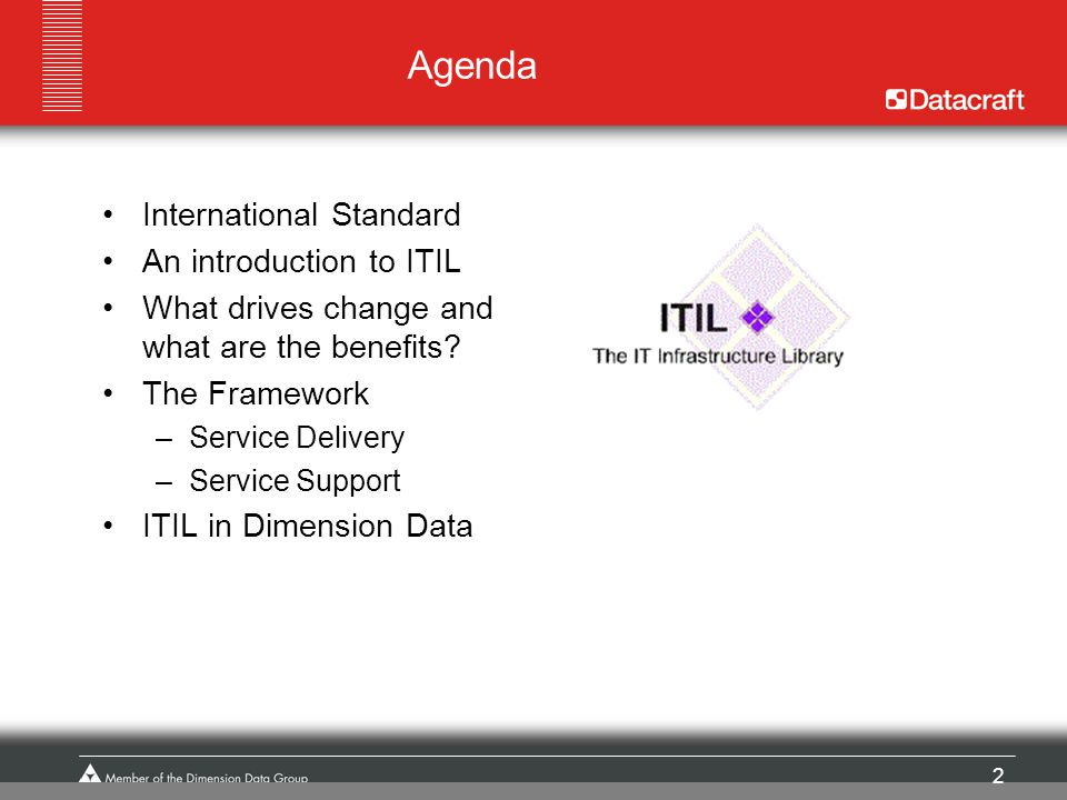 2 Agenda International Standard An introduction to ITIL What drives change and what are the benefits? The Framework –Service Delivery –Service Support