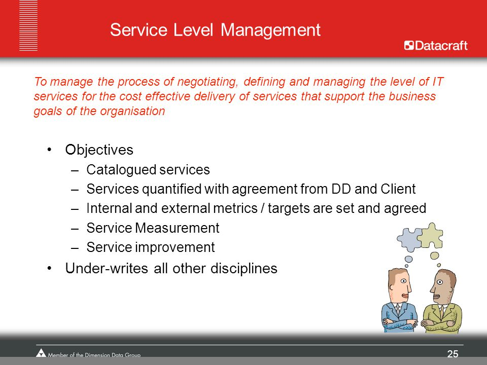 25 Service Level Management Objectives –Catalogued services –Services quantified with agreement from DD and Client –Internal and external metrics / ta