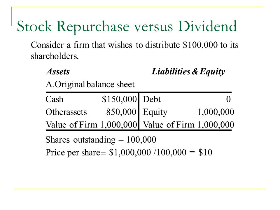 Stock Repurchase versus Dividend $10=/100,000$1,000,000 = Price per share 100,000 = outstanding Shares 1,000,000Value of Firm1,000,000Value of Firm 1,