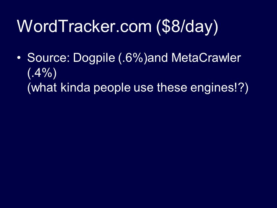 WordTracker.com ($8/day) Source: Dogpile (.6%)and MetaCrawler (.4%) (what kinda people use these engines!?)