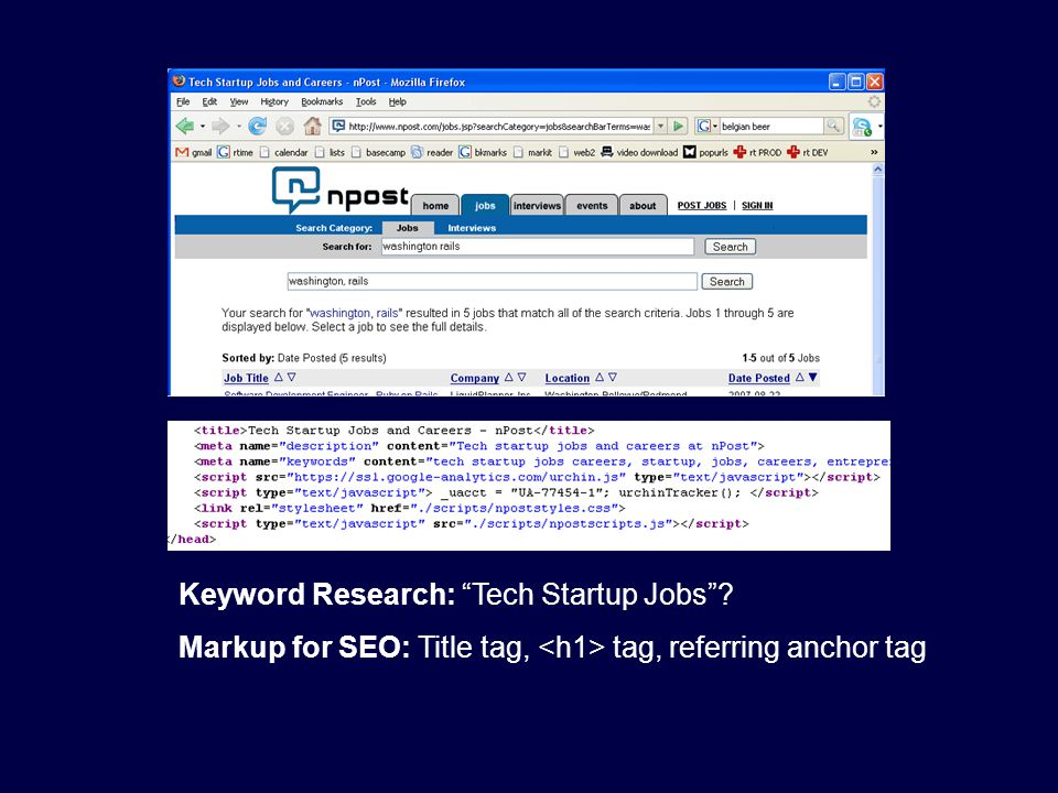 "Keyword Research: ""Tech Startup Jobs""? Markup for SEO: Title tag, tag, referring anchor tag"