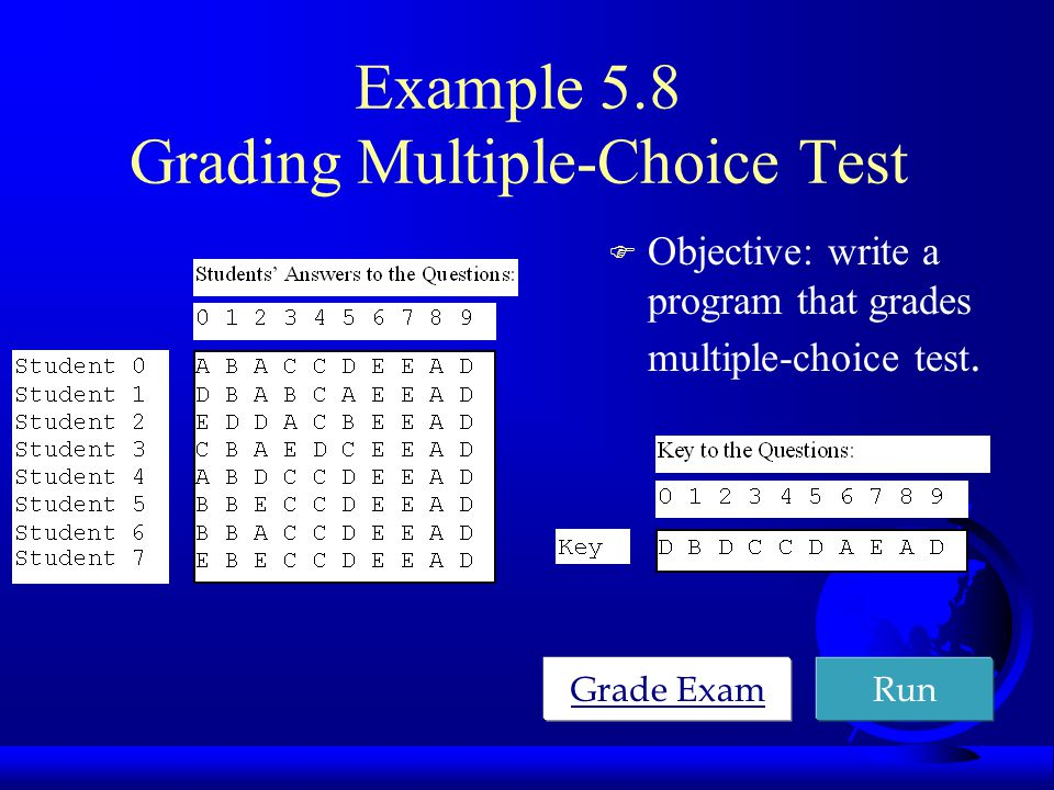 Example 5.8 Grading Multiple-Choice Test F Objective: write a program that grades multiple-choice test.