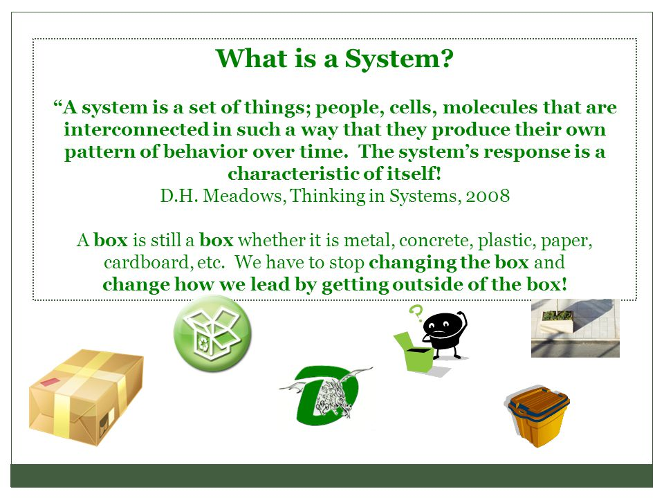 """What is a System? """"A system is a set of things; people, cells, molecules that are interconnected in such a way that they produce their own pattern of"""