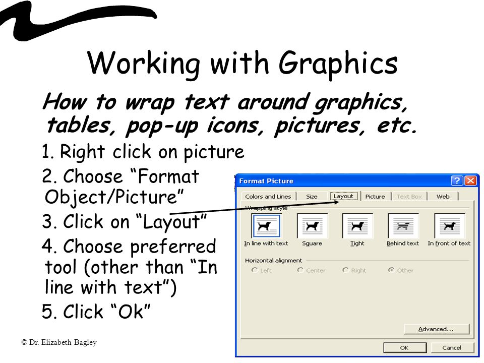 © Dr. Elizabeth Bagley Working with Graphics How to wrap text around graphics, tables, pop-up icons, pictures, etc. 1. Right click on picture 2. Choos