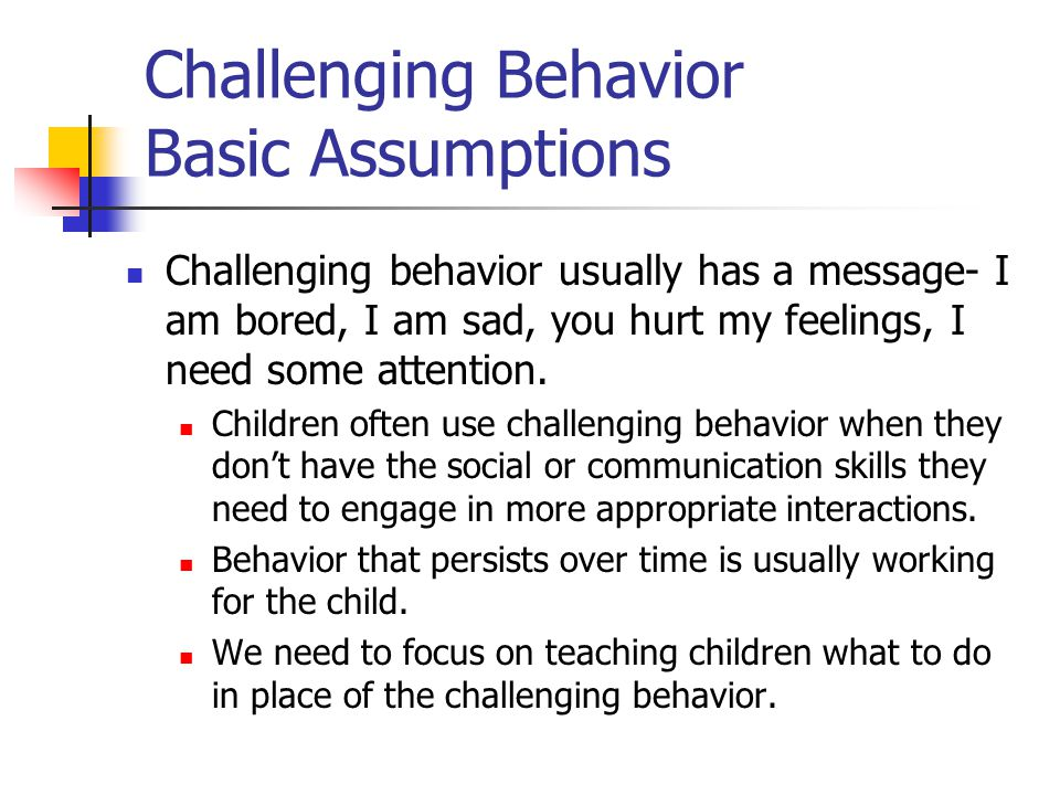 Challenging Behavior Basic Assumptions Challenging behavior usually has a message- I am bored, I am sad, you hurt my feelings, I need some attention.