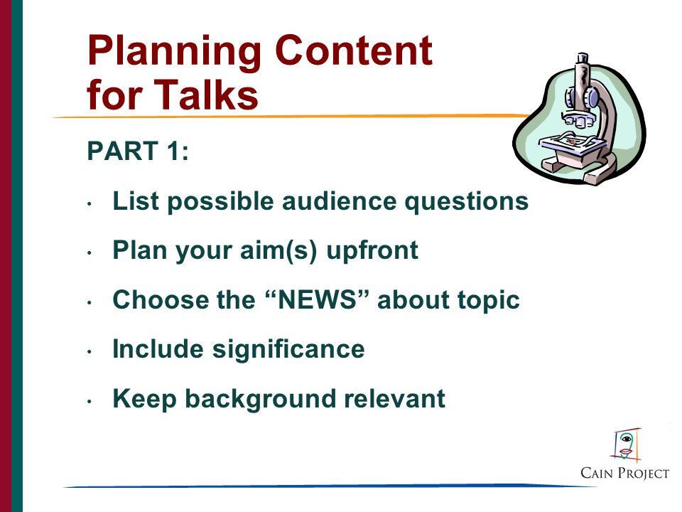 3 Planning Content for Talks
