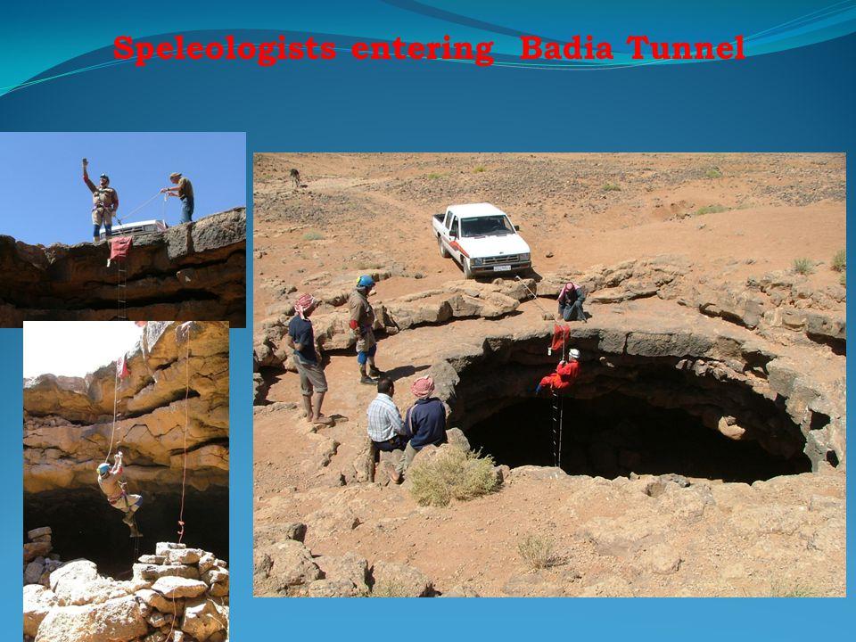 Speleologists entering Badia Tunnel