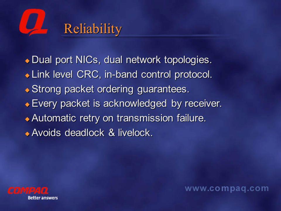 Reliability  Dual port NICs, dual network topologies.