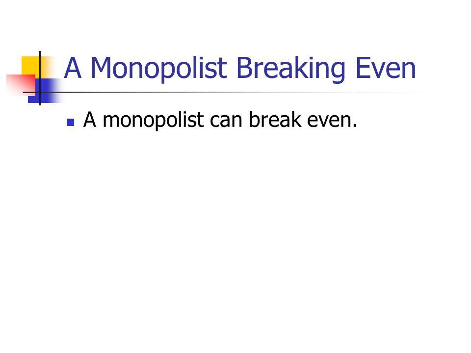 A Monopolist Breaking Even A monopolist can break even.