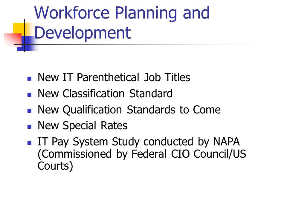 Workforce Planning and Development New IT Parenthetical Job Titles New Classification Standard New Qualification Standards to Come New Special Rates IT Pay System Study conducted by NAPA (Commissioned by Federal CIO Council/US Courts)