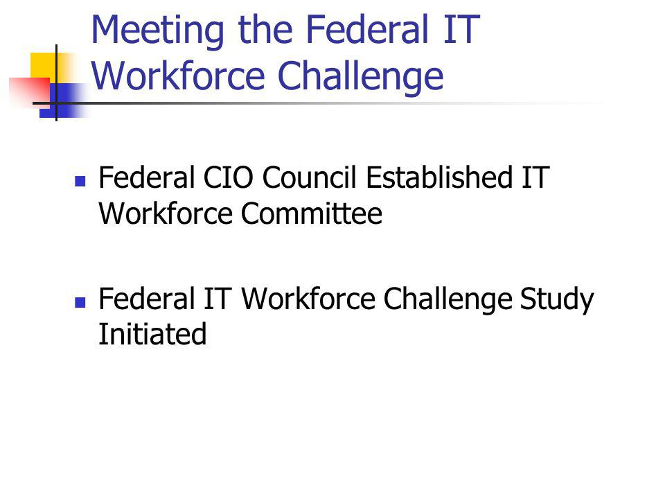 Meeting the Federal IT Workforce Challenge Federal CIO Council Established IT Workforce Committee Federal IT Workforce Challenge Study Initiated