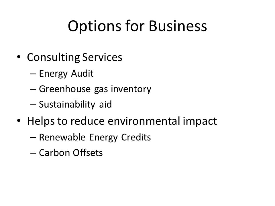Options for Business Consulting Services – Energy Audit – Greenhouse gas inventory – Sustainability aid Helps to reduce environmental impact – Renewable Energy Credits – Carbon Offsets